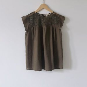 Zara Olive Green Ruffle Sleeve Top Size S